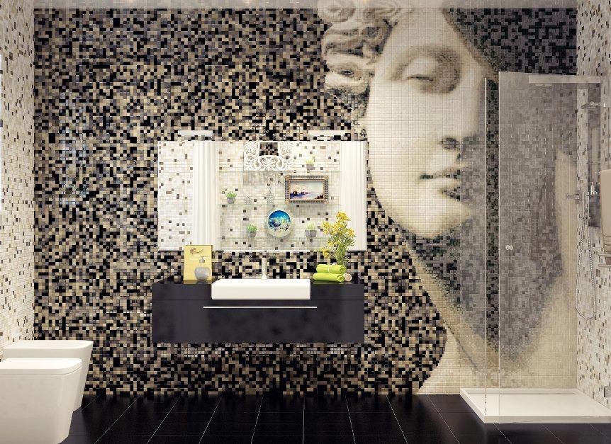 дизайн ванной с мозаикой