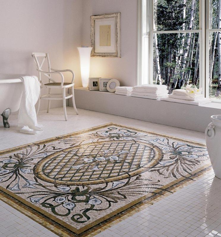 мозаика на полу в ванной