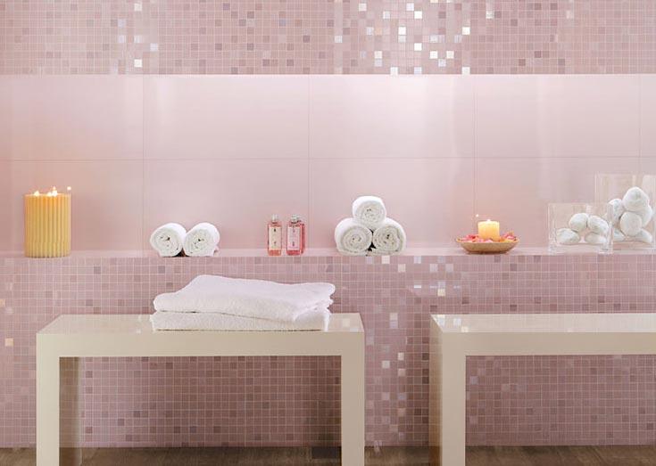 розовая мозаика для ванной