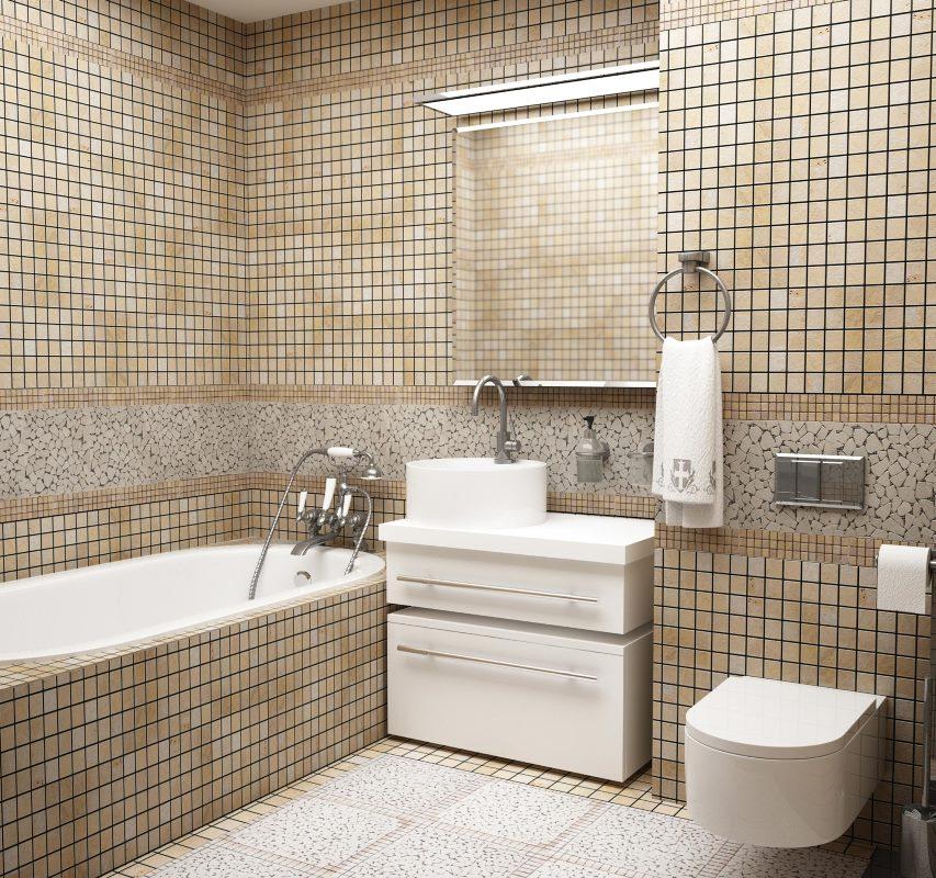 бежевая ванна с мозаикой