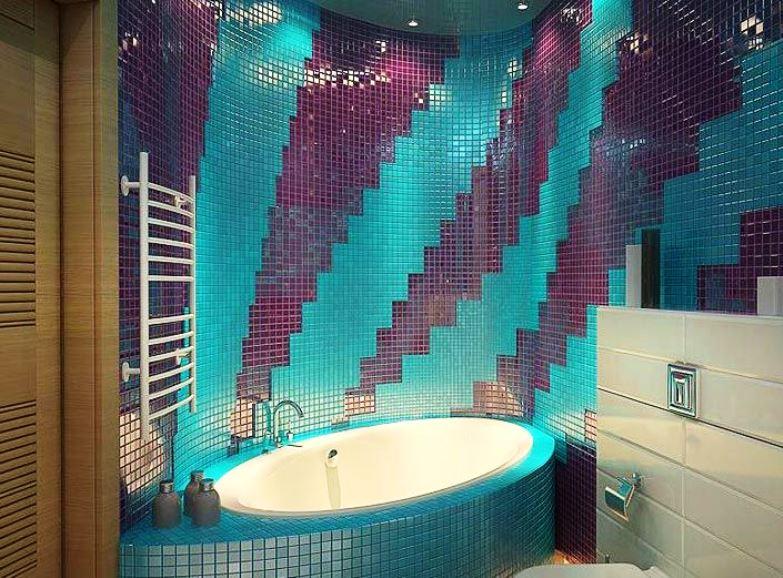 ванная комната с мозаикой и плиткой фото